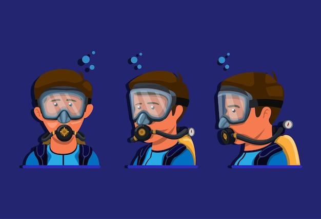 スキューバダイビングシュノーケリング。男は酸素チューブで水着メガネ水を着用