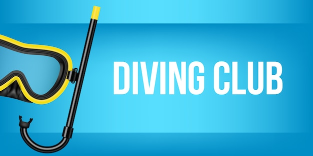 Scuba diving, swimming mask with snorkel, goggles.