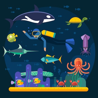 Scuba diving with fishes and coral reef vector illustration