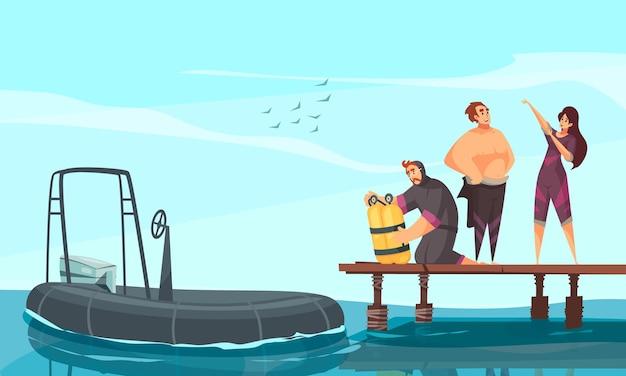 Проверка акваланга, надевание гидрокостюма на композицию с надувной моторной лодкой для плавания, дайвинга, снорклинга
