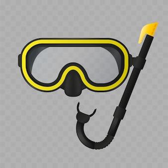 透明な背景に分離されたスキューバマスクとチューブ。リアルなシュノーケリングマスク。