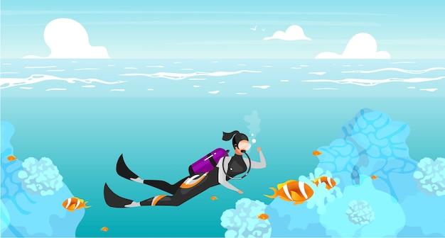 Scubadivingフラットイラスト。水中スイミングスポーツウーマン。深海ダイビング。海の野生生物。野外活動。夏休み。背景色が水色のスキューバダイバーの漫画のキャラクター