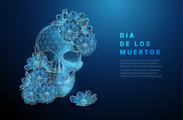 Scull with flowers. dia de los muertos concept. low poly style design. abstract geometric background. wireframe light connection structure. modern   concept. isolated .