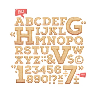 Sculpted alphabet. stone carved letters, numbers and typeface symbols.  illustration.