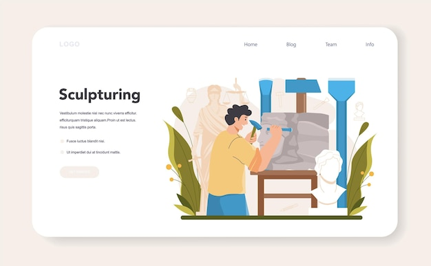 Sculptor web banner or landing page. creating sculpture of the marble, wood and clay. creative ceramist, sculpting decoration modeling. art and hobby. flat vector illustration