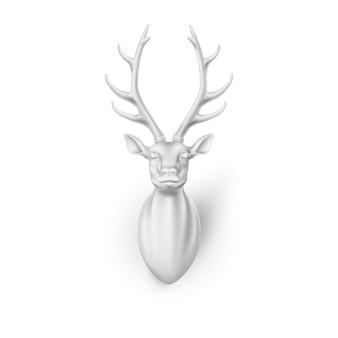 角のある3d鹿の頭を彫刻する