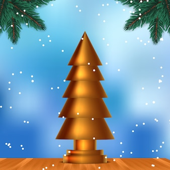 Sculpture of golden christmas tree. beauty elegant and luxury design on the wood with blue sky background and snowflake. fir leaves garland decoration. xmas celebration