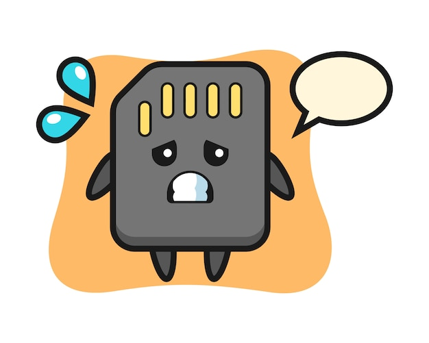 Sd card mascot character with afraid gesture, cute style design for t shirt