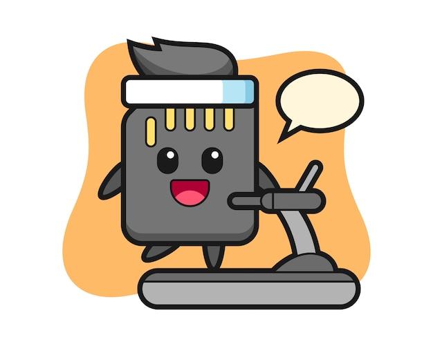 トレッドミルの上を歩くsdカードの漫画のキャラクター、tシャツのかわいいスタイルのデザイン