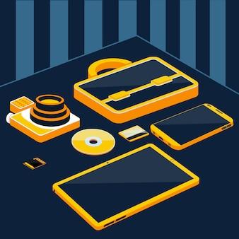 ブリーフケースカメラスマートフォンタブレットsdメモリカード