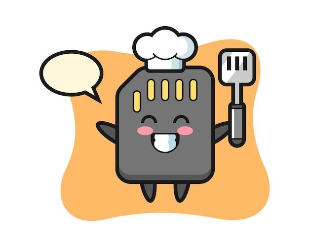 Иллюстрация характера карточки sd как шеф-повар готовит, милый дизайн стиля для футболки