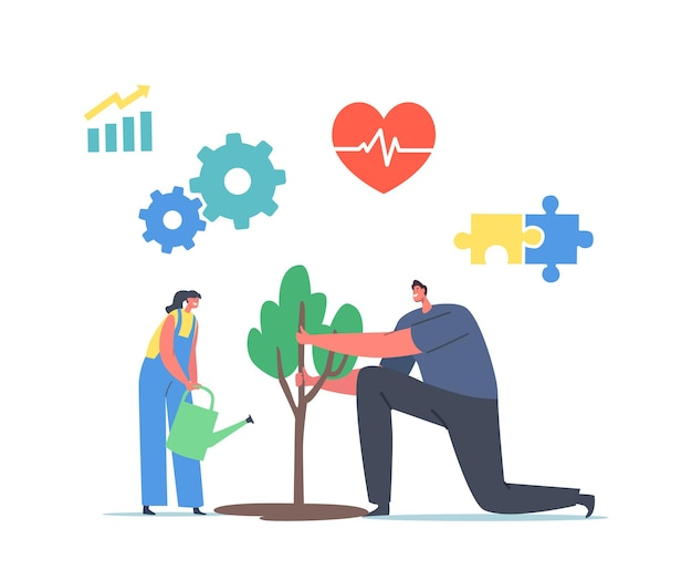 Sdg sustainable development goals, forest restoration, reforestation and planting new trees concept. characters watering green plant, save nature, environment protection. cartoon vector illustration