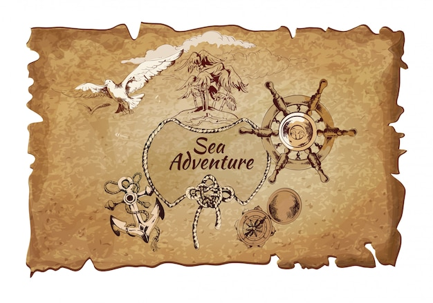 Sea  adventure ancient paper