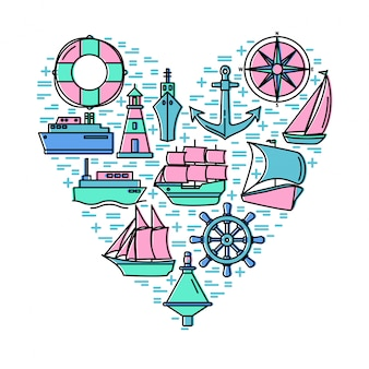 Sea adventure concept with elements on heart shape composition