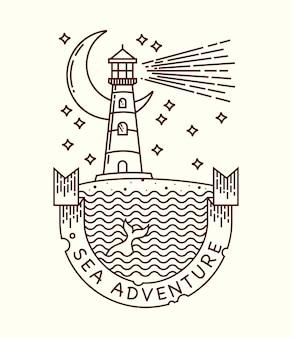 Sea adventure line illustration