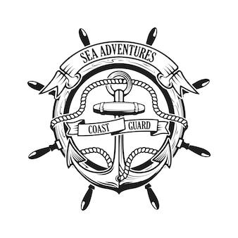 Морские приключения. береговая охрана. якорь с веревкой и ленты на фоне с рулевого колеса. корабельный шлем.