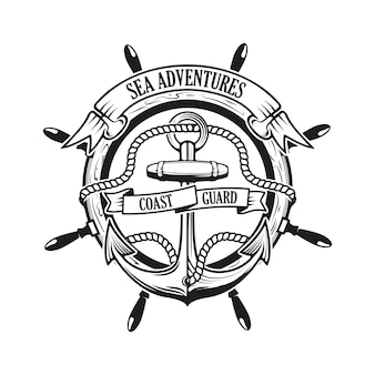 Sea adventures. coast guard. anchor with rope and ribbons on background with steering wheel. ship helm.
