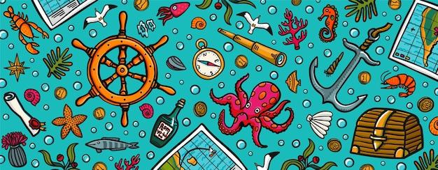 Морские приключения горизонтальный баннер