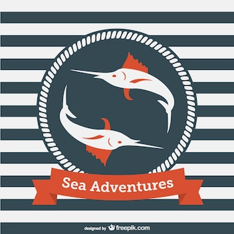 Sea adventures logo with two swordfish