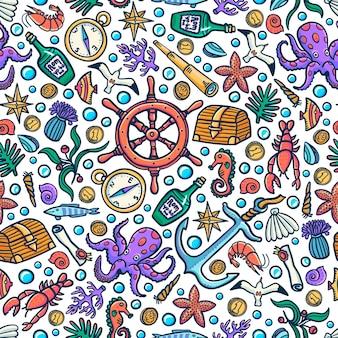 海の冒険のシームレスなパターン