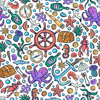 Sea adventures seamless pattern