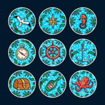 바다 모험 스티커 세트