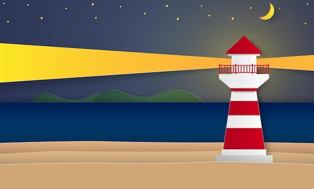 종이 예술 스타일의 밤에 등대가 있는 바다와 해변
