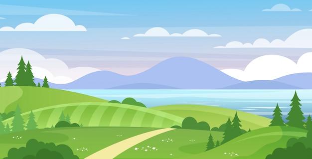 Море и горы пейзаж плоской иллюстрации. прекрасный летний вид на природу. зеленые холмы с деревьями и голубое озеро гор, небо с белыми облаками. курорт, место отдыха для туристов