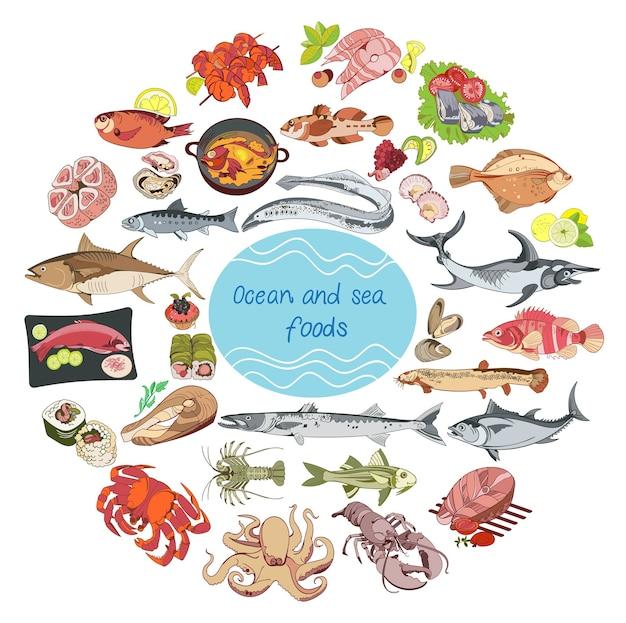 바다와 바다 음식 라운드 개념
