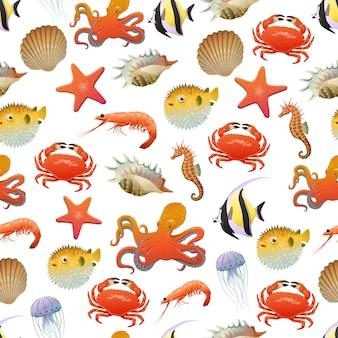 海と海の生活のシームレスパターン