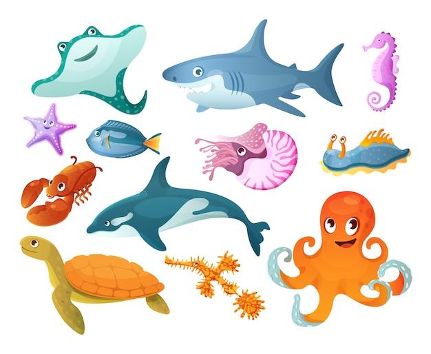 海と川の水中動物。
