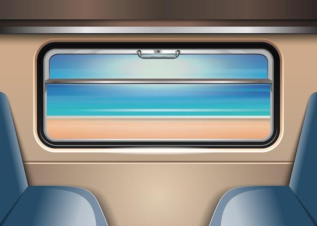 電車の窓の外の海とビーチ。ベクトルイラスト