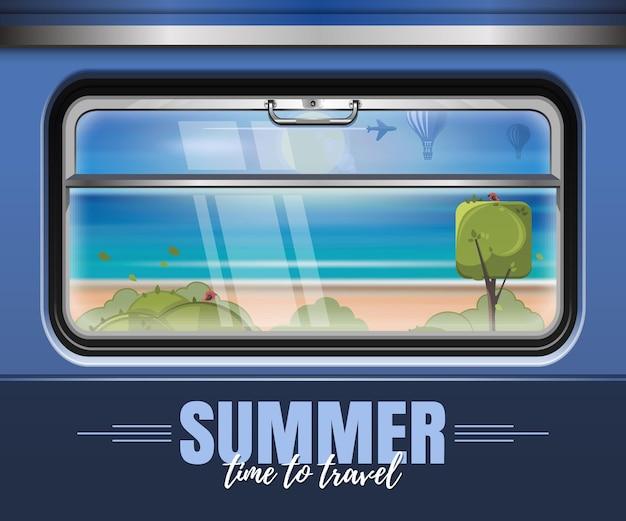 電車の窓の外の海とビーチ