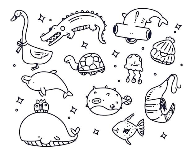 海の動物の落書きスタイルのイラスト
