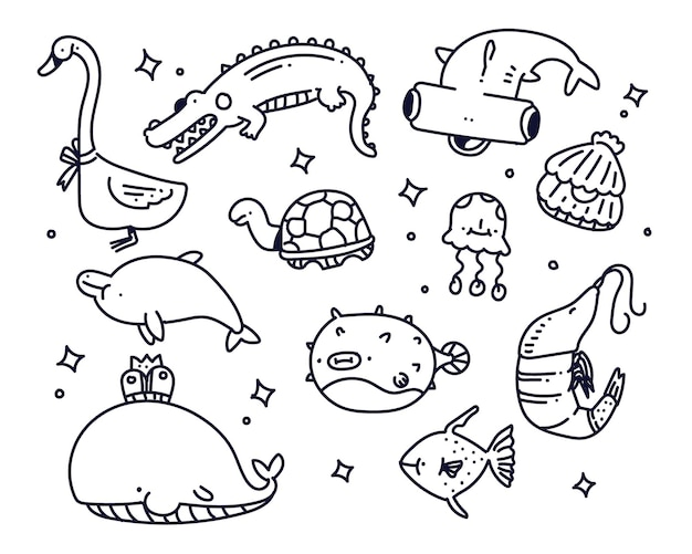 Sea animal doodle style illustration