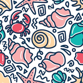 Sea animal hand drawn doodle set with icons and design elements