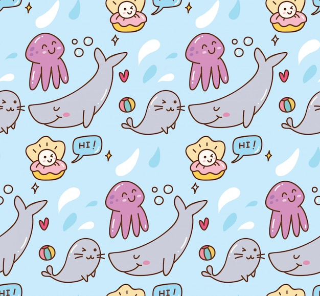 Sea animal kawaii background