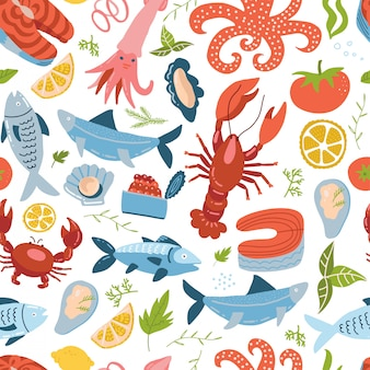 海の動物は、タラバガニ、ザリガニ、魚とのシームレスなパターンを設定します。海の食べ物の飾り。シンプルなフラットスタイルでキュートなカラーの繰り返しテクスチャ。