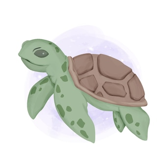 바다 동물 미소 거북이 수채화