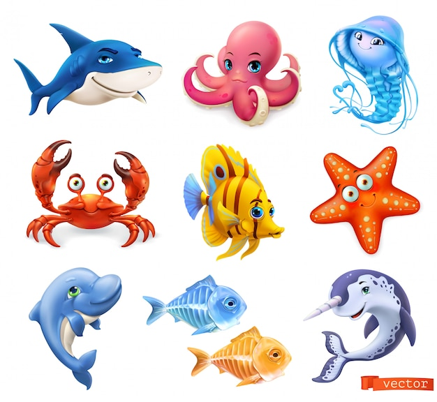 Sea animals cartoon set collection