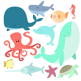 Sea animals in cartoon style