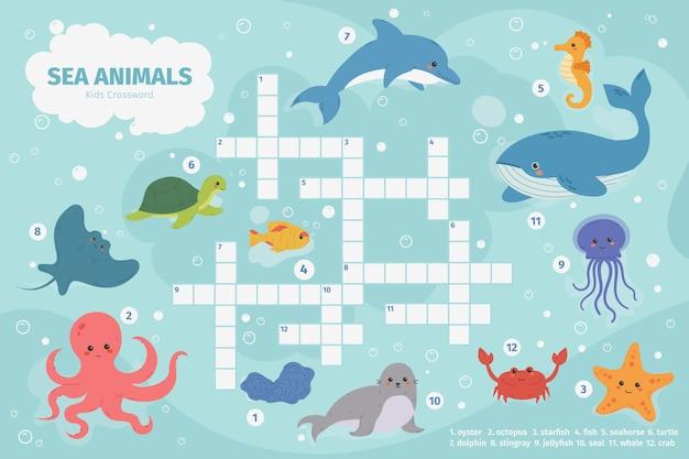 바다 동물 크로스 워드 퍼즐. 키즈 크로스 워드 퍼즐 게임, 수중 해양 동물