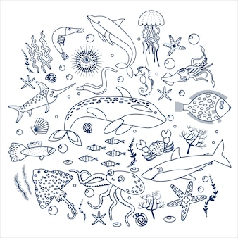 Sea animals and fish label