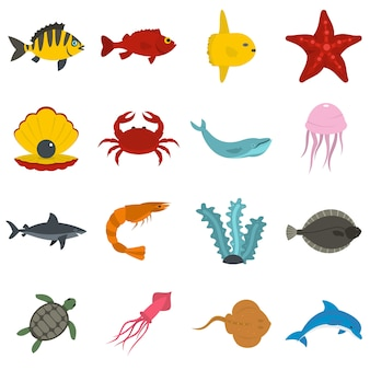 Sea animals icons set in flat style