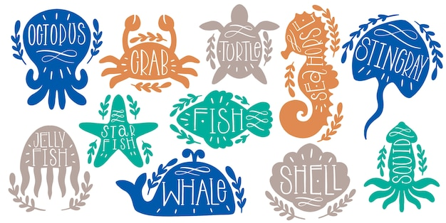 Sea animals marine set text lettering. ocean shape text