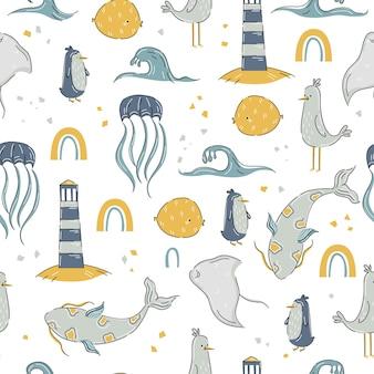 물고기, 등대가 있는 배경에 귀여운 손으로 그린 스타일의 바다 동물 패턴