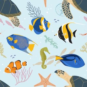Sea animals seamless pattern