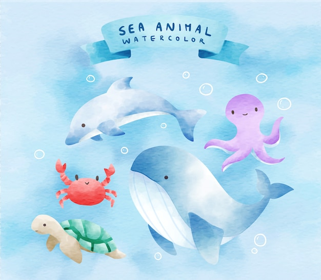 Sea animals in watercolor sets