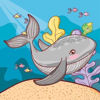 Sea animals with exotic seaweed plants