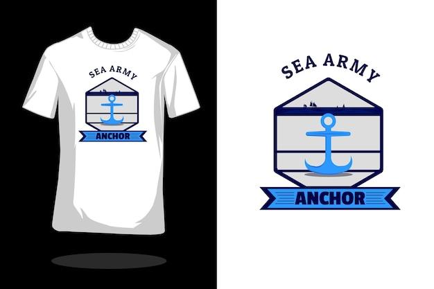바다 군대 실루엣 빈티지 t 셔츠 디자인